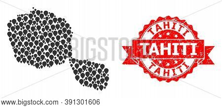 Pointer Mosaic Map Of Tahiti Island And Scratched Ribbon Seal. Red Seal Has Tahiti Caption Inside Ri