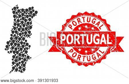 Pointer Collage Map Of Portugal And Scratched Ribbon Watermark. Red Stamp Has Portugal Text Inside R