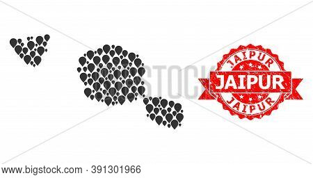 Pin Collage Map Of Tahiti And Moorea Islands And Scratched Ribbon Stamp. Red Stamp Seal Includes Jai