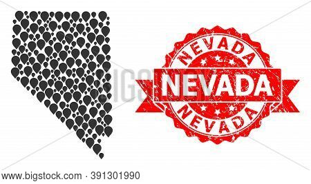 Mark Mosaic Map Of Nevada State And Grunge Ribbon Stamp. Red Stamp Has Nevada Caption Inside Ribbon.