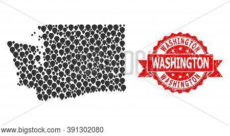 Target Mosaic Map Of Washington State And Scratched Ribbon Stamp. Red Stamp Seal Has Washington Titl