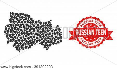 Pin Mosaic Map Of Novosibirsk Region And Grunge Ribbon Seal. Red Stamp Seal Includes Russian Teen Ta