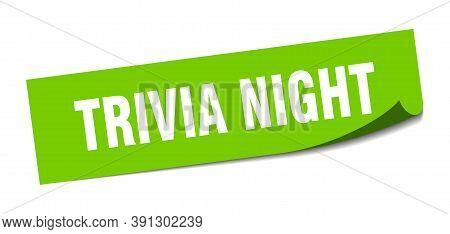 Trivia Night Sticker. Trivia Night Square Sign. Trivia Night. Peeler