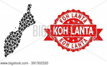 Mark Mosaic Map Of Masirah Island And Grunge Ribbon Seal. Red Stamp Seal Has Koh Lanta Caption Insid