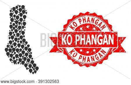 Pin Collage Map Of Grande Comore Island And Grunge Ribbon Seal. Red Stamp Seal Has Ko Phangan Title