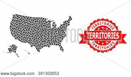 Mark Collage Map Of Usa Territories And Scratched Ribbon Seal. Red Seal Has Territories Text Inside