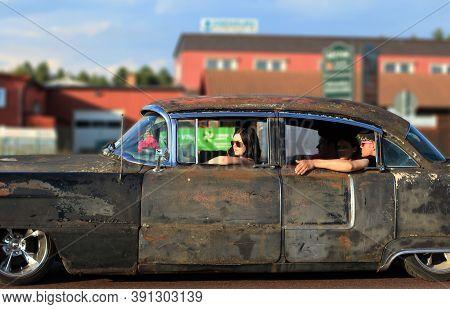 Rattvik, Sweden - July 27, 2013: Classic Car Week Rättvik - Old Cadillac Rusty Black Vintage Car. Vi