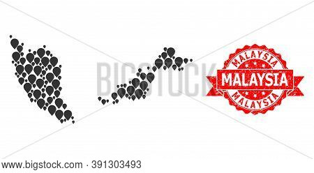 Pinpoint Mosaic Map Of Malaysia And Grunge Ribbon Seal. Red Stamp Seal Contains Malaysia Title Insid