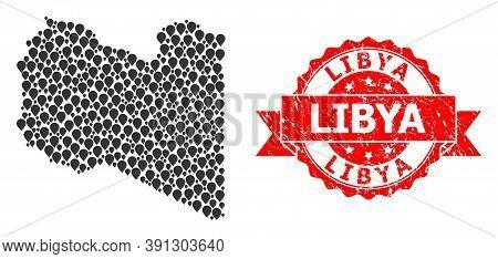 Pin Mosaic Map Of Libya And Grunge Ribbon Watermark. Red Stamp Seal Has Libya Text Inside Ribbon. Ab