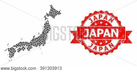 Pointer Mosaic Map Of Japan And Grunge Ribbon Seal. Red Stamp Includes Japan Caption Inside Ribbon.