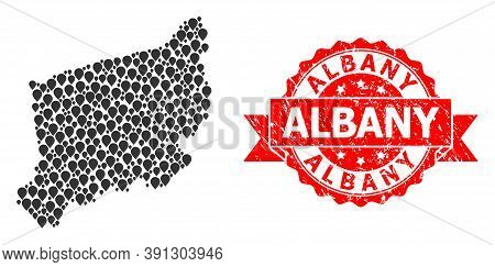 Marker Mosaic Map Of West Pomerania Province And Grunge Ribbon Stamp. Red Stamp Contains Albany Text