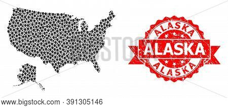 Pinpoint Mosaic Map Of Usa And Alaska And Grunge Ribbon Stamp. Red Stamp Contains Alaska Caption Ins