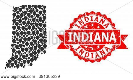 Target Collage Map Of Indiana State And Grunge Ribbon Stamp. Red Stamp Has Indiana Title Inside Ribb