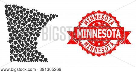 Mark Mosaic Map Of Minnesota State And Scratched Ribbon Seal. Red Seal Includes Minnesota Tag Inside