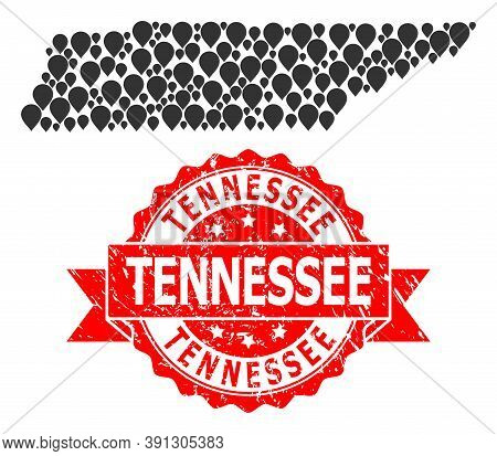 Marker Mosaic Map Of Tennessee State And Grunge Ribbon Stamp. Red Stamp Seal Contains Tennessee Capt