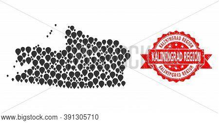 Pointer Collage Map Of Kaliningrad Region And Scratched Ribbon Seal. Red Seal Has Kaliningrad Region