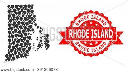 Pinpoint Collage Map Of Rhode Island State And Scratched Ribbon Stamp. Red Stamp Has Rhode Island Ti