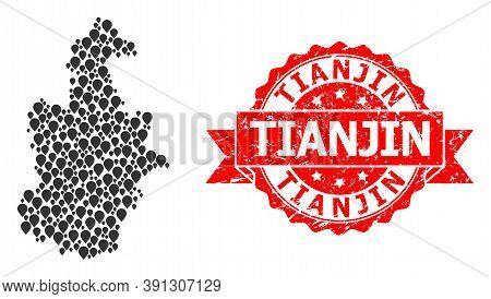 Marker Mosaic Map Of Tianjin Municipality And Grunge Ribbon Seal. Red Seal Has Tianjin Tag Inside Ri