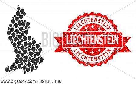 Pointer Mosaic Map Of Liechtenstein And Grunge Ribbon Seal. Red Stamp Seal Includes Liechtenstein Te