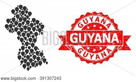 Marker Collage Map Of Guyana And Scratched Ribbon Seal. Red Seal Contains Guyana Title Inside Ribbon