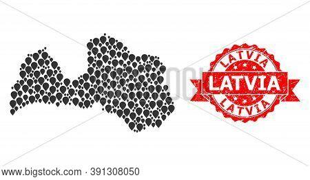 Target Mosaic Map Of Latvia And Grunge Ribbon Seal. Red Seal Contains Latvia Tag Inside Ribbon. Abst
