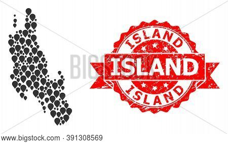 Pinpoint Mosaic Map Of Zanzibar Island And Grunge Ribbon Stamp. Red Stamp Seal Contains Island Text