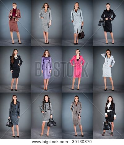 Collection of women's business suits on a dark background
