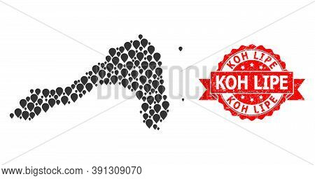 Pin Collage Map Of Koh Lipe And Scratched Ribbon Seal. Red Stamp Seal Includes Koh Lipe Text Inside