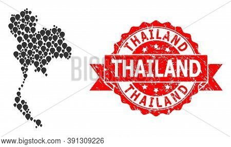 Marker Collage Map Of Thailand And Scratched Ribbon Seal. Red Stamp Seal Has Thailand Tag Inside Rib