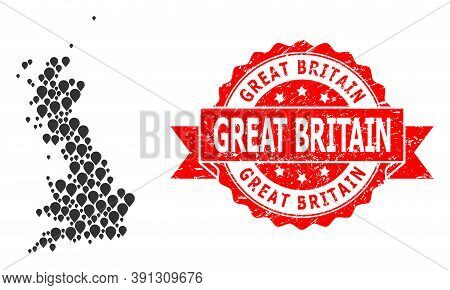Marker Mosaic Map Of Great Britain And Scratched Ribbon Stamp. Red Stamp Has Great Britain Tag Insid