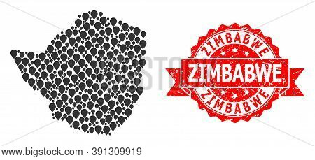 Marker Collage Map Of Zimbabwe And Grunge Ribbon Seal. Red Stamp Seal Includes Zimbabwe Tag Inside R
