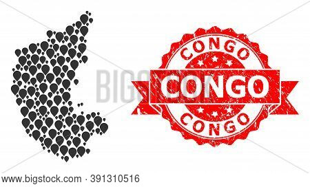 Pin Mosaic Map Of Karnataka State And Grunge Ribbon Stamp. Red Stamp Includes Congo Title Inside Rib
