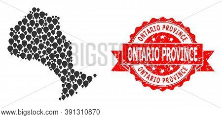 Target Collage Map Of Ontario Province And Grunge Ribbon Stamp. Red Stamp Has Ontario Province Title