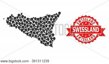 Marker Mosaic Map Of Sicilia Island And Grunge Ribbon Stamp. Red Stamp Seal Contains Swissland Text