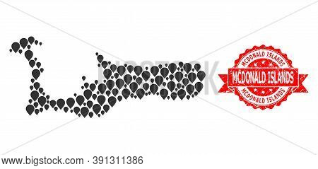 Pin Collage Map Of Grand Cayman Island And Grunge Ribbon Seal. Red Seal Includes Mcdonald Islands Ta