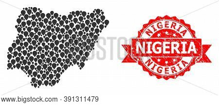 Pinpoint Mosaic Map Of Nigeria And Scratched Ribbon Stamp. Red Stamp Has Nigeria Title Inside Ribbon
