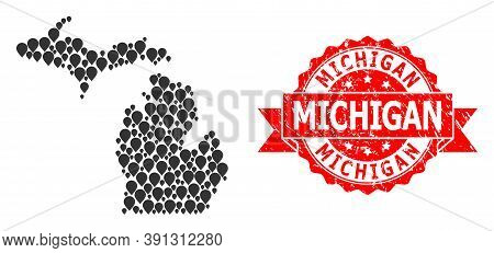 Pin Mosaic Map Of Michigan State And Scratched Ribbon Watermark. Red Stamp Seal Contains Michigan Te