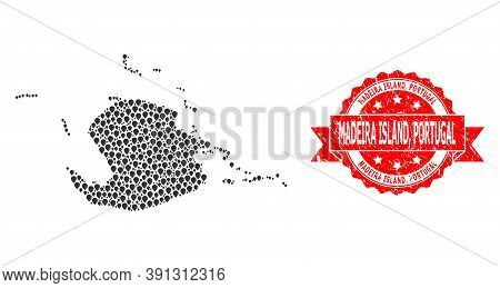 Pinpoint Mosaic Map Of Juventud Island And Scratched Ribbon Stamp. Red Stamp Has Madeira Island, Por