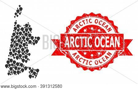 Pointer Collage Map Of North Holland And Grunge Ribbon Seal. Red Seal Includes Arctic Ocean Title In