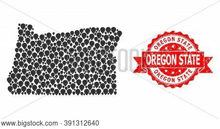 Pointer Collage Map Of Oregon State And Scratched Ribbon Watermark. Red Stamp Seal Contains Oregon S