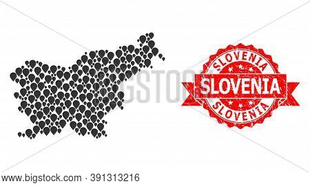 Pointer Collage Map Of Slovenia And Grunge Ribbon Stamp. Red Stamp Seal Includes Slovenia Title Insi