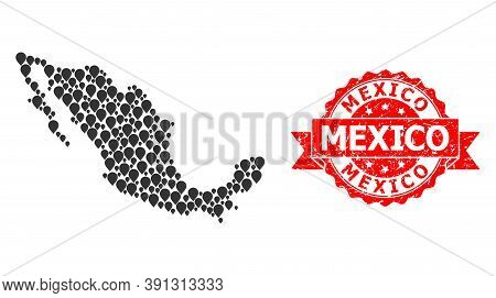 Pin Collage Map Of Mexico And Grunge Ribbon Seal. Red Seal Has Mexico Title Inside Ribbon. Abstract