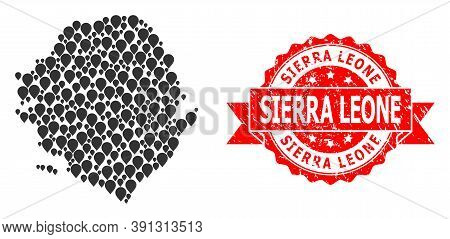 Marker Mosaic Map Of Sierra Leone And Grunge Ribbon Stamp. Red Stamp Seal Contains Sierra Leone Capt