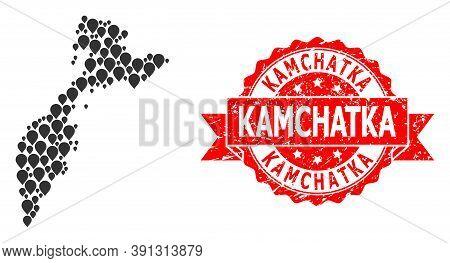 Pin Mosaic Map Of Kamchatka Peninsula And Grunge Ribbon Seal. Red Seal Includes Kamchatka Tag Inside