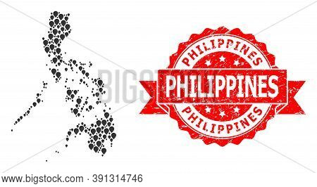 Marker Mosaic Map Of Philippines And Grunge Ribbon Watermark. Red Seal Has Philippines Title Inside