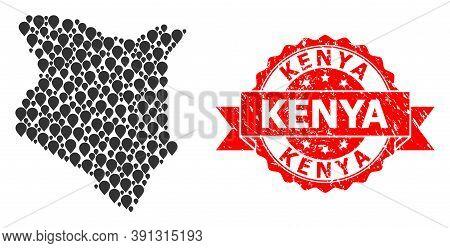Marker Collage Map Of Kenya And Grunge Ribbon Stamp. Red Stamp Seal Includes Kenya Caption Inside Ri
