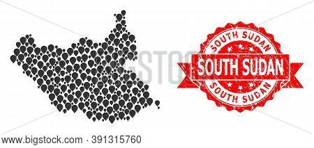 Target Mosaic Map Of South Sudan And Grunge Ribbon Seal. Red Stamp Seal Includes South Sudan Tag Ins