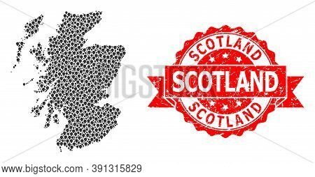 Marker Mosaic Map Of Scotland And Scratched Ribbon Seal. Red Seal Contains Scotland Title Inside Rib