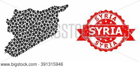 Pinpoint Mosaic Map Of Syria And Scratched Ribbon Watermark. Red Stamp Includes Syria Text Inside Ri