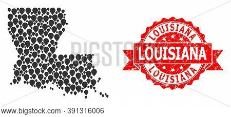 Pinpoint Collage Map Of Louisiana State And Grunge Ribbon Watermark. Red Seal Contains Louisiana Tag